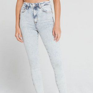 Free People Raw Hems High Rise Skinny Jeans 25